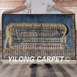4and039x2.5and039 Handmade Silk Ancient Egypt Tapestry Pictorial Indoor Area Rug L116a