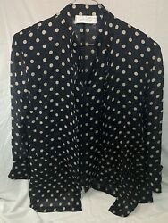 Vintage Gianni Versace For Genny 1970s Polka Dot Floral Silk Two-piece Blouse 10