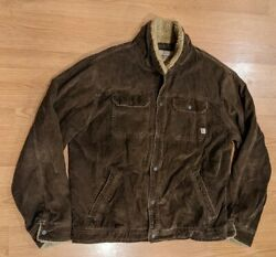 Menand039s Vintage Abercrombie And Fitch Brown Corduroy Sherpa-lined Brown Jacket - Xl