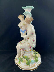 Ultra Rare Meissen Large Antiques Interior Candlestick Mother And Child Statue
