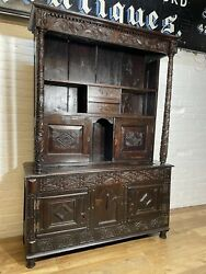 Antique Heavily Carved Oak Court Cupboard Dresser .delivery Available Most Areas
