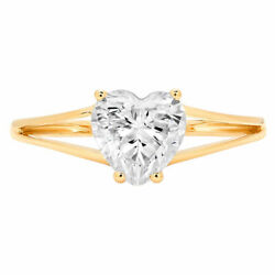 1.0 Ct Heart Cut Genuine Cultured Diamond Stone 18k Yellow Gold Solitaire Ring