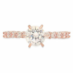 1.05 Ct Round Cut Genuine Cultured Diamond Stone Solid 18k Rose Gold Ring