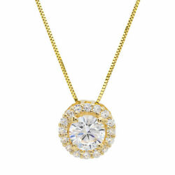 1.24ct Round Cut Halo Real Cultured Diamond 18k Yellow Gold Pendant And 18 Chain