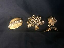 3 Vintage Gold Tone Brooches Kramer Faux Pearls Dhm Tree Of Life Rc Flower