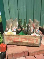 Vintage 8 Pack Bottles Pepsi And Mountain Dew With Pepsi Wooden Crate