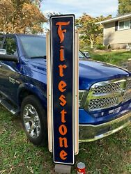Firestone X-large Heavy Embossed Metal Sign Dated 1947 72x 15 Great Sign