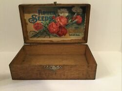 Antique Wooden Box Advertising Flower Seeds From D.m. Ferry And Co. Detroit, Mi