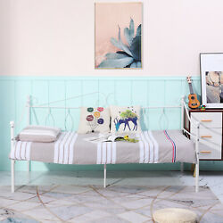 Eggree Classical Twin Size Day Bed,solid Metal Bed Frame With Wooden Slats White
