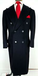 Stunning Kiton 100 Cashmere Overcoat Top Coat Double Breasted Navy 50 40 R