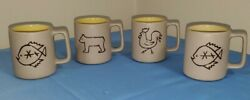 Lot Of 4 Pigeon Forge Pottery Coffee Mug Cup Rooster 2-fish Bear Yellow