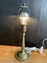 Antique Industrial Brass Table Lamp With Hood