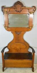 21016 Victorian Carved Bevel Glass Oak Hall Tree With Storage Seat