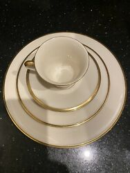 Service For 12 Eternal 5 Piece Dinner Set - Ivory And Gold Rim China