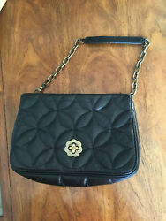 Eric Javits Handbag Black Quilted Leather Chain Straps Purse Bag