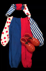 Fabulous Vintage 40's 50's Child's Halloween Costume Clown Jester Hat And Shoes