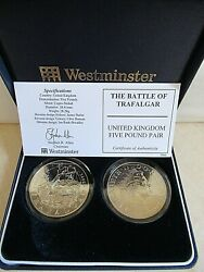 Westminster Mint Five Pound Pair The Battle Of Trafalgar Cased And C.o.a.