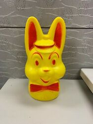1970s Vintage Plastic Bunny Bank Yellow Red Coin Piggy Bank
