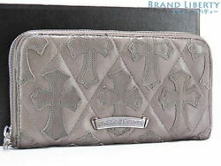 Chrome Hearts Cemetery Cross Quilting Patch Round Fasteners Long Wallet Gray