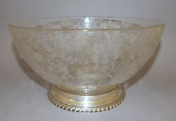 Antique Wallace Sterling Silver Rose Point Cambridge Etched Glass Salad Ice Bowl