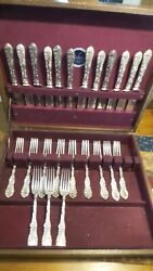 24 Pcs. Antique Sterling Silver Old English Towle 12 Dinner Forks 12 Knives