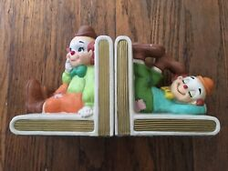 Lefton Vintage Ceramic Clown Bookends Clowns Hand Painted IMMACULATE
