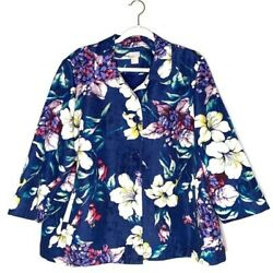 Chicoandrsquos Floral Jacket Lightweight Button Front Size 20 Chicoand039s Size 4