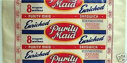 Vintage Purity Maid Wax Paper Bread Wrapper Purity Baking Co