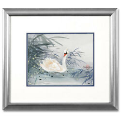 Original Painting On Silk Paper And Hand Signed By Caroline Young Framed Swan