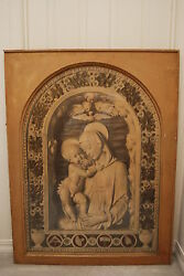 Antique Old Lithograph Photo Print Madonna Angel Cupid Victorian Art Religious