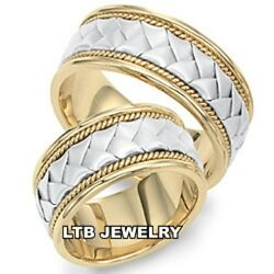 14k Two Tone Gold Braided Wedding Bands His And Hers Matching Wedding Rings Set