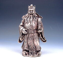 Ship From U.s Vintage Silver Copper Crafted Chinese Immortal Lu Money God