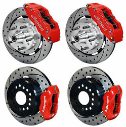 Wilwood Disc Brake Kit,64-72 Chevelle,6/4 Piston Red Calipers,12 Drilled Rotors