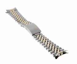 Mens 14k/ss Two Tone Replacement Band For Rolex 34mm Tudor, Date 19mm Ends