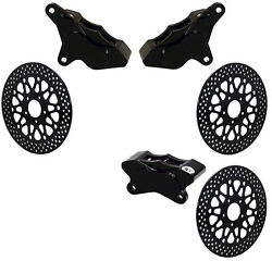 Wilwood 2000-11 Harley Davidson Brake Caliper And Rotor Setblack2 Front And 1 Rear