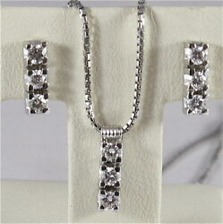 18k White Gold Trilogy Parure Necklace Earrings Diamonds Ct0.44 Made In Italy