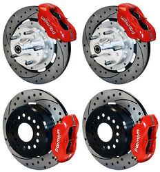 Wilwood Disc Brake Kit65-69 Fordmercury12 Drilled Rotorsred Calipers
