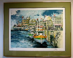 Framed Limited Edition Signed Serigraph French Seaport By Wayland Moore