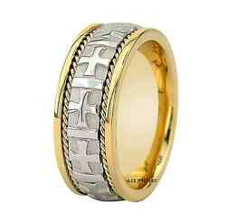 950 Platinum And 18k Yellow Gold Braided Mens Wedding Bands Rings 8mm