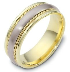 950 Platinum And 18k Yellow Gold Mens Wedding Bands,two Tone Gold Wedding Rings