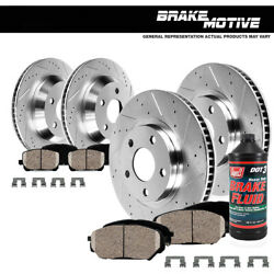 Front And Rear Drill Slot Brake Rotors And Ceramic Pads For Bmw 323i 325i 328i E46