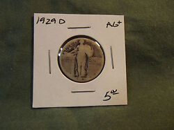1929d Ag+ Silver Standing Liberty Quarter From Old Collection 1929 D 1929-d
