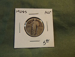 1928s Ag+ Silver Standing Liberty Quarter From Old Collection 1928 S 1928-s