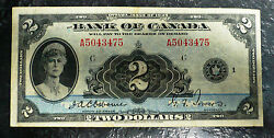 Bank Of Canada 1935 2 Upper Side Of Vf