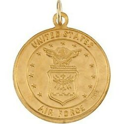 Mrt One Nation St Christopher Us Air Force 14k Yellow Gold Medal Necklace 3/4