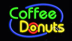 New Coffee Donuts 30x17 Oval Border Real Neon Sign W/custom Options 14438