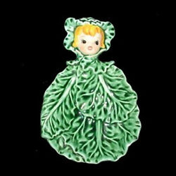 Mint And Rare Vintage Lefton Spoon Rest Cissy Cabbage Cuties Pixie Girl Holder