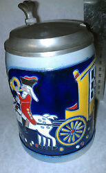 Jaksch Beer Stein Mohr Royal Hand Crafted #426N 100 Jahre German Pewter lid .5L