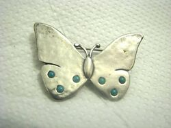 Butterfly Didae 925 Silver Turquoise Brooch By Shablool Silver Jewellery, Israel