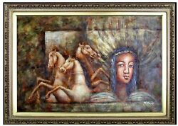 Framed Young Lady With Horses Wall Fresco Hand Painted Oil Painting 24x36in
